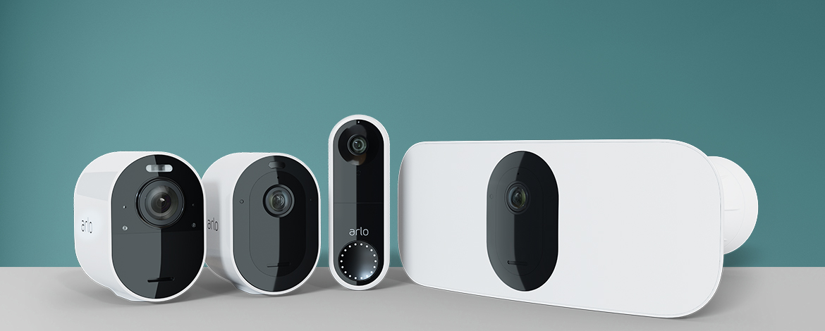 Arlo products in line - Arlo Pro 3, Arlo Ultra, Arlo Video Doorbell, Arlo Pro 3 Floodlight