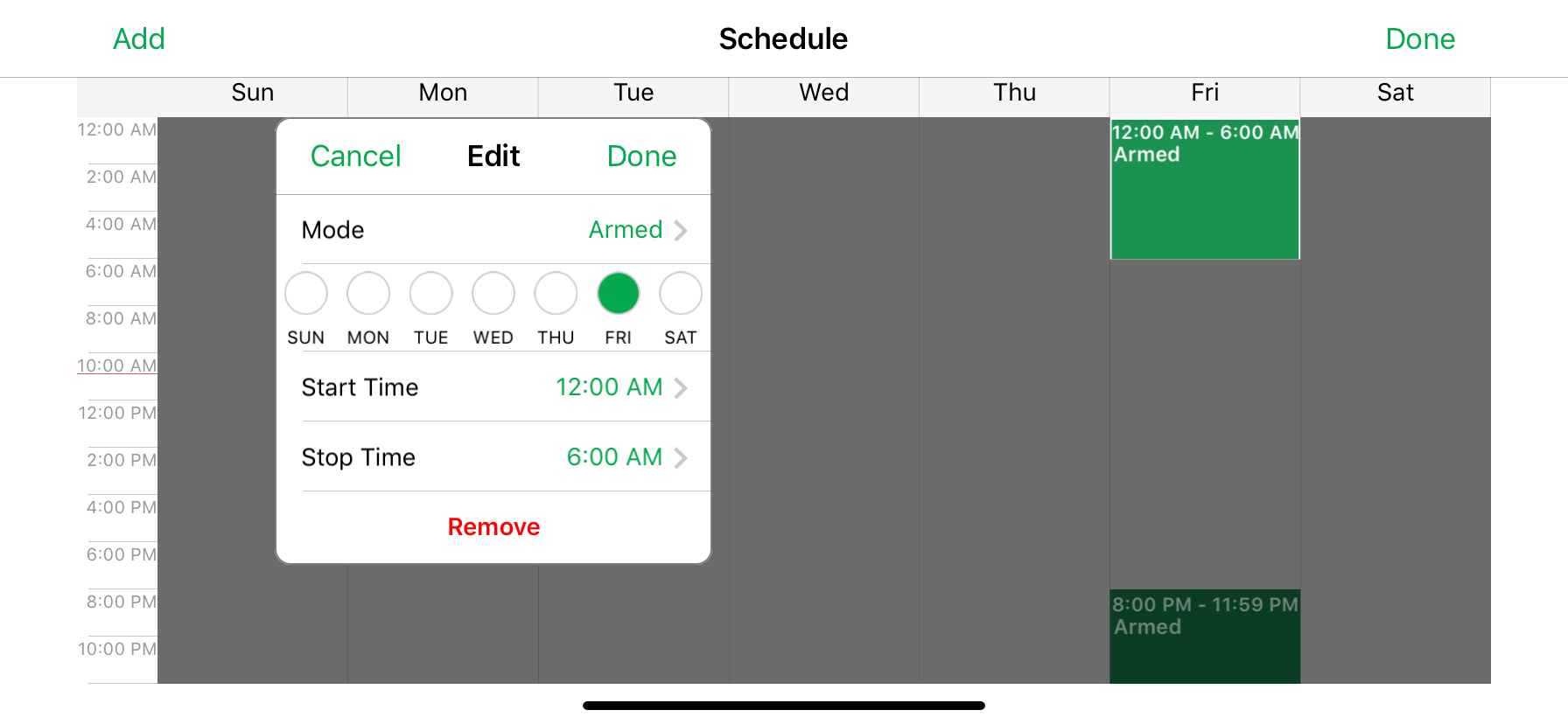 How can I set a schedule for my camera in my Arlo account?