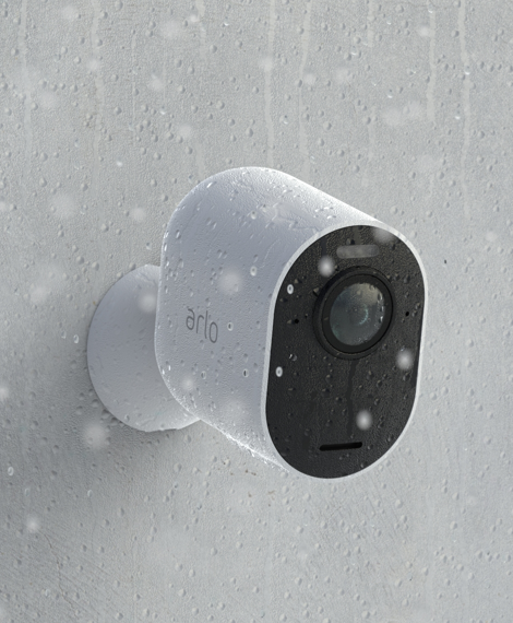 Arlo Ultra mounted outdoors in rain